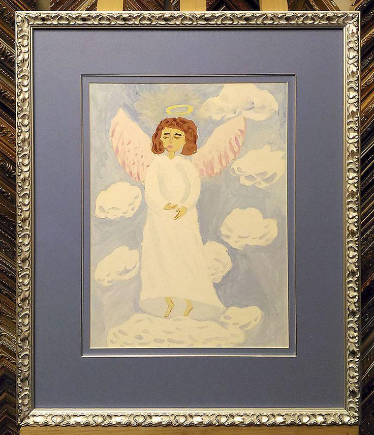 Детский рисунок. Деревянный багет, двойное паспарту, кант, безбликовое стекло.