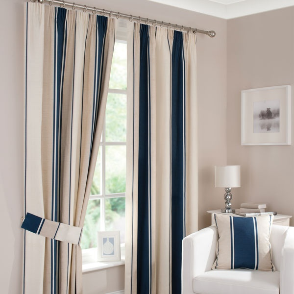 Navy Milan Pencil Pleat Curtains | Dunelm Mill