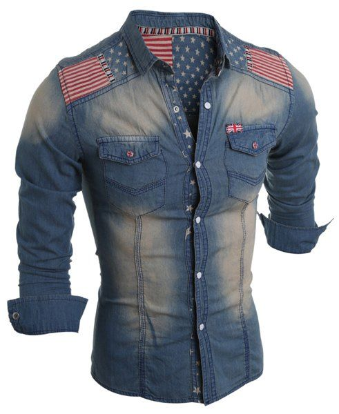 Turn-Down Collar Bleach Wash Stars Print Long Sleeve Stripe Splicing Denim Shirt For Men