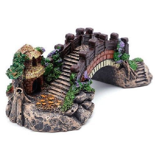 Bridge Aquarium Fish Tank Decoration Ornament Resin Tree Decor Cave Mountain New