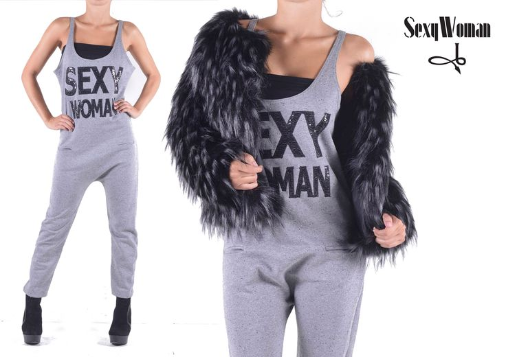 Sweatshirt jumpsuit and faux black/white fur