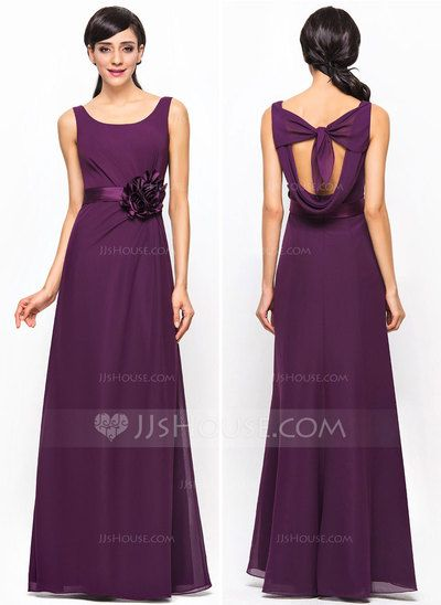 [£99.00] A-Line/Princess Scoop Neck Floor-Length Chiffon Bridesmaid Dress With Ruffle Flower(s)