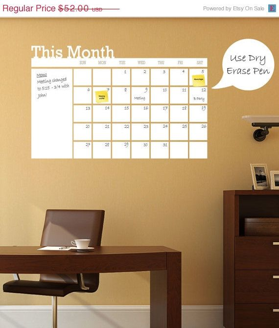 Dry Erase Calendar - Wall Calendar, Wall Planner, White Board Wall Decal - Calendar - Planner by Shop Simply Perfect