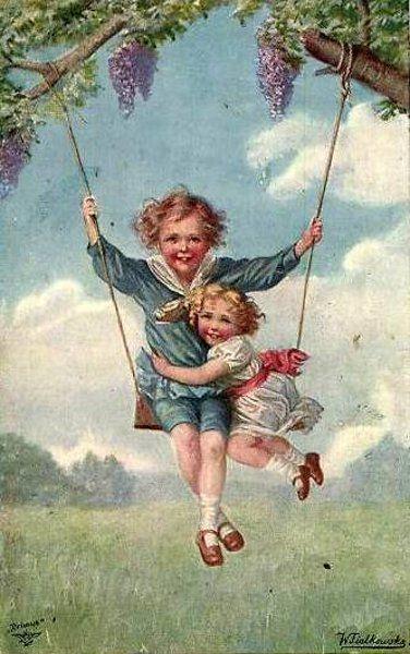 Two girls enjoying a swing on a summer day. Artist, Wally F