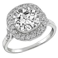 Art Deco 2,55 Carat diamante platina anel de noivado