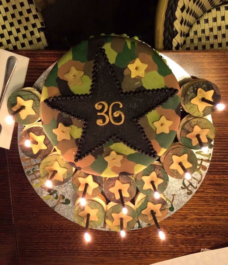 Air Force / Army Themed Birthday Cake and Cupcakes