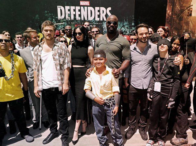 The Defenders Comic-Con Interviews Heres What We Learned Check out what we learned during the Marvels The Defenders Comic-Con interviews Marvels The Defendersfollows Matt Murdock/Daredevil (Charlie Cox) Jessica Jones (Kristyn Ritter)Luke Cage (Mike Colter)and Danny Ran/Iron Fist(Finn Jones) a quartet of singular heroes with one common goal to save New York City. This is the story of four solitary figures burdened with their own personal challenges who realize they just might be stronger whe