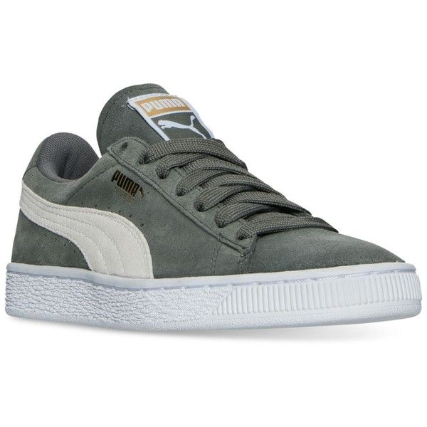 Puma Women's Suede Classic Casual Sneakers from Finish Line ($55) ❤ liked on Polyvore featuring shoes, sneakers, agave green, suede leather shoes, green shoes, suede shoes, green suede shoes and puma shoes