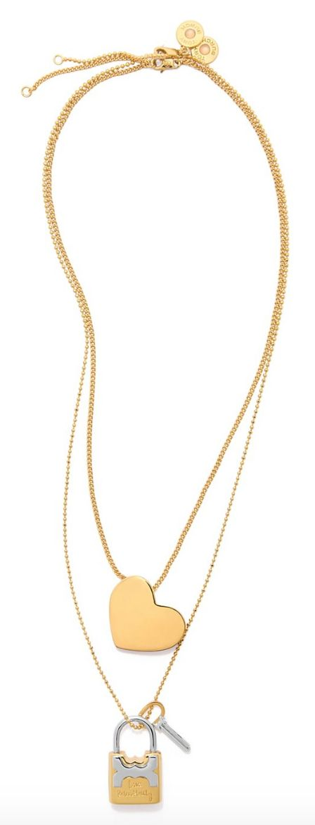 Tory Burch Metal Heart & Padlock Necklace Set