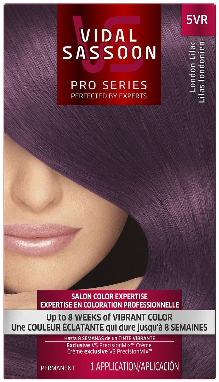 Vidal Sassoon London Luxe 5vr London Lilac 1 Kit. VS London Luxe is a collection of fashion-forward, ultra vibrant hair dye shades. Up to 8 weeks of fashionably bold, salon vibrant purple hair color. Exclusive VS PrecisionMix Color Creme Formulas are mixed to calibrate the right blend of pigments, incorporating salon expertise into every box for the perfect shade of purple. Includes VS HydraBlock Color Preserving Conditioner to help prevent water from fading your vibrant color. 1…