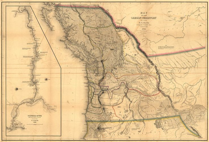 "Oregon territory in 1941, Admiral Charles Wilkes' Map of the Pacific Northwest from ""Narrative of the United States Exploring Expedition."" Philadelphia: 1845 #oregon #pnw"