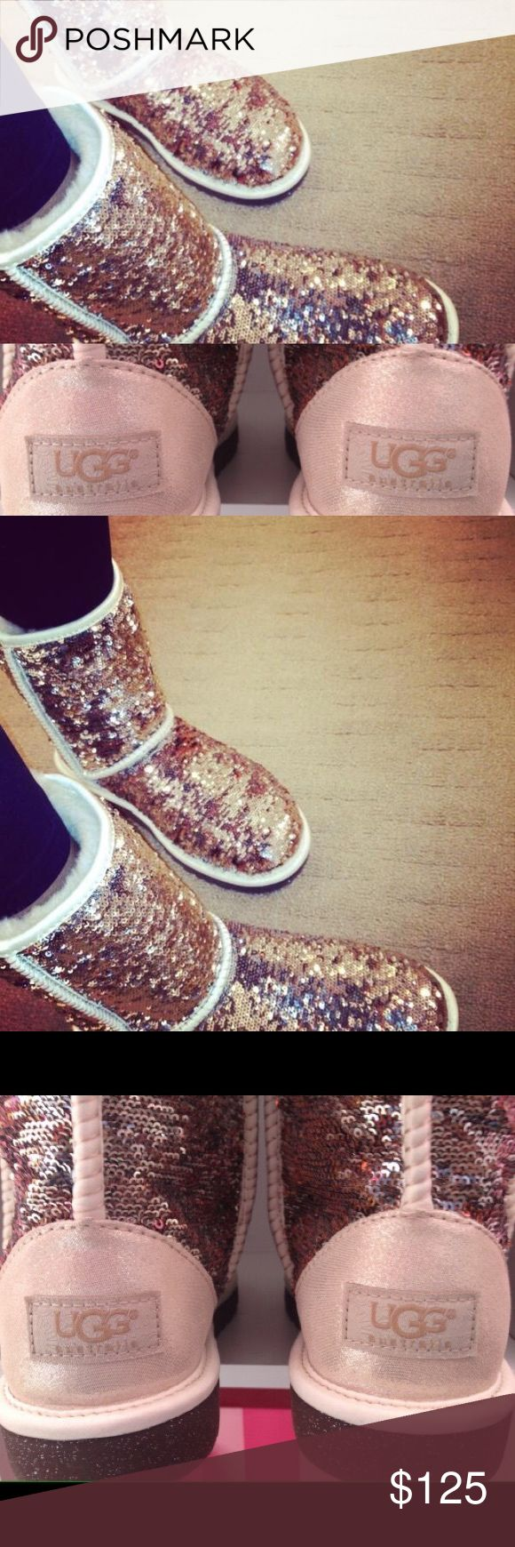 Classic Sequin Ugg Champagne classic sequined Uggs. Gently used. Original packaging with Authenticity proof. UGG Shoes Winter & Rain Boots