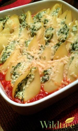 Spinach and Ricotta Stuffed Shells - Wildtree Recipes. Honestly, the longest part of prepping this dish was waiting for the shells to cook. So easy and tasty. I used 1 lb of chopped fresh spinach rather than the 10 oz of frozen, and added 4 bulbs of chopped garlic and a pinch or two of nutmeg to the ricotta mix. Also, I had no clue what Wildtree Savory Spinach dip was so just used greek yogurt and some Italian seasoning instead. Savory, tangy and QUICK. 10/10