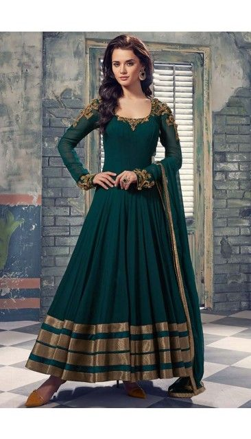 Green georgette Anarkali Churidar Suit - 1707
