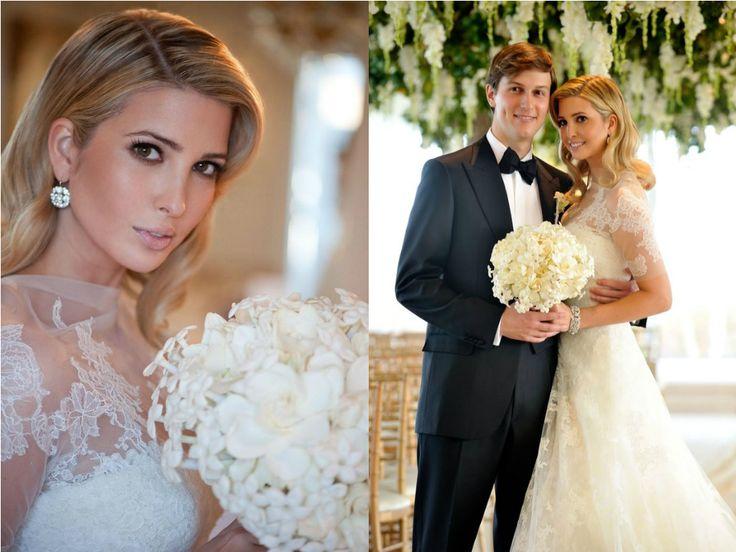 Com Vera Wang não há como errar. A estilista é quem assina o vestido de noiva de Ivanka Trump, em seu casamento com Jared Kushner em 2009. A inspiração para o desenho da peça, que não economizou na renda, é o modelo usado por Grace Kelly.