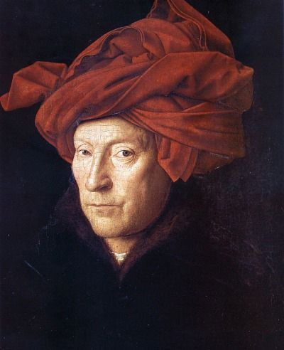 """A Man in a Red Turban"". Jan Van Eyck, 1433. Suspected to be a self portrait.  The father of the art movement in Flanders at that time.  Medieval artist that accepted the international style of Europe."