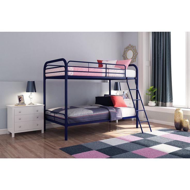 DHP Metal Twin Bunk Bed (Navy), Blue