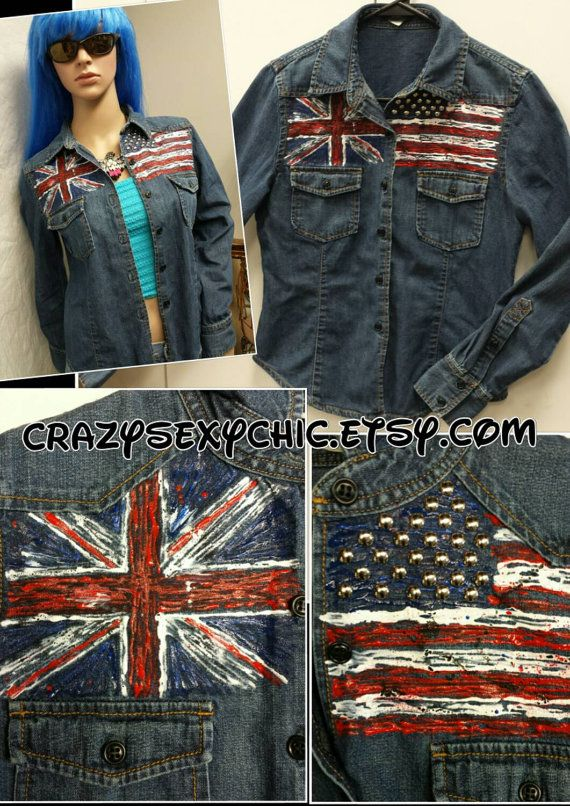 Hand-Painted Denim Shirt size Small #OldGlory #UnionJack by CrazySexyChic