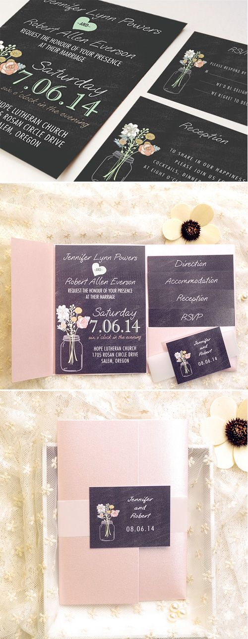 Mason Jars Inspired Rustic Chalkboard Wedding Invitations with Pink Pockets