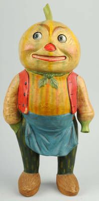 Vintage Halloween Collectible ~ Halloween Vegetable Man w/ Movable Glass Eyes * Old Store Display (Clockwork mechanism in his head moves his eyes from left to right.)
