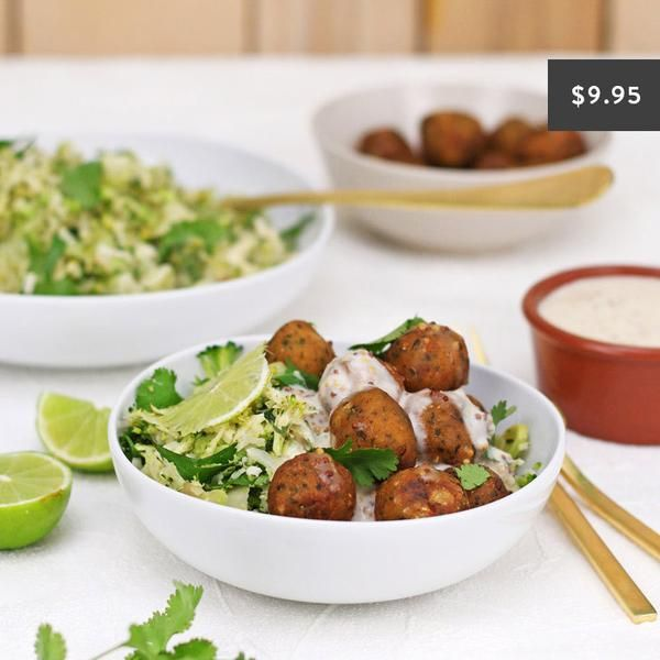 YouFoodz | Herby Falafel with Shredded Greens $9.95 | We've taken your fave little balls of chickpea goodness and given them the perfect accompaniment! Introducing our mind-blowingly good broccoli and cauliflower mix (that will have you going back for more and more!) | #Youfoodz #HomeDelivery #YoullNeverEatFrozenAgain