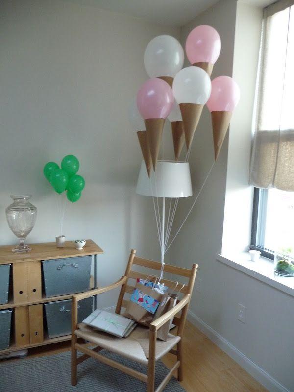 Ice cream cone balloons:  Kraft paper cones, helium balloons