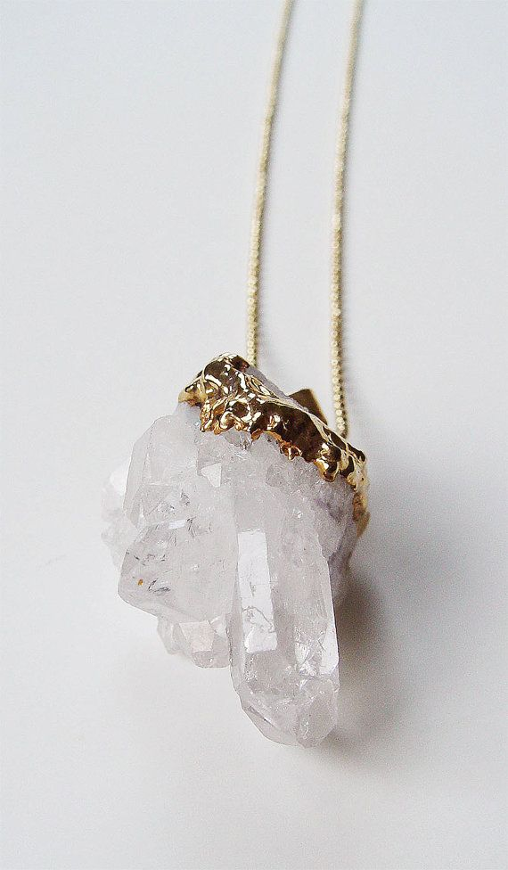 { Vanilla Quartz Crystal Necklace Gold Filled by friedasophie }