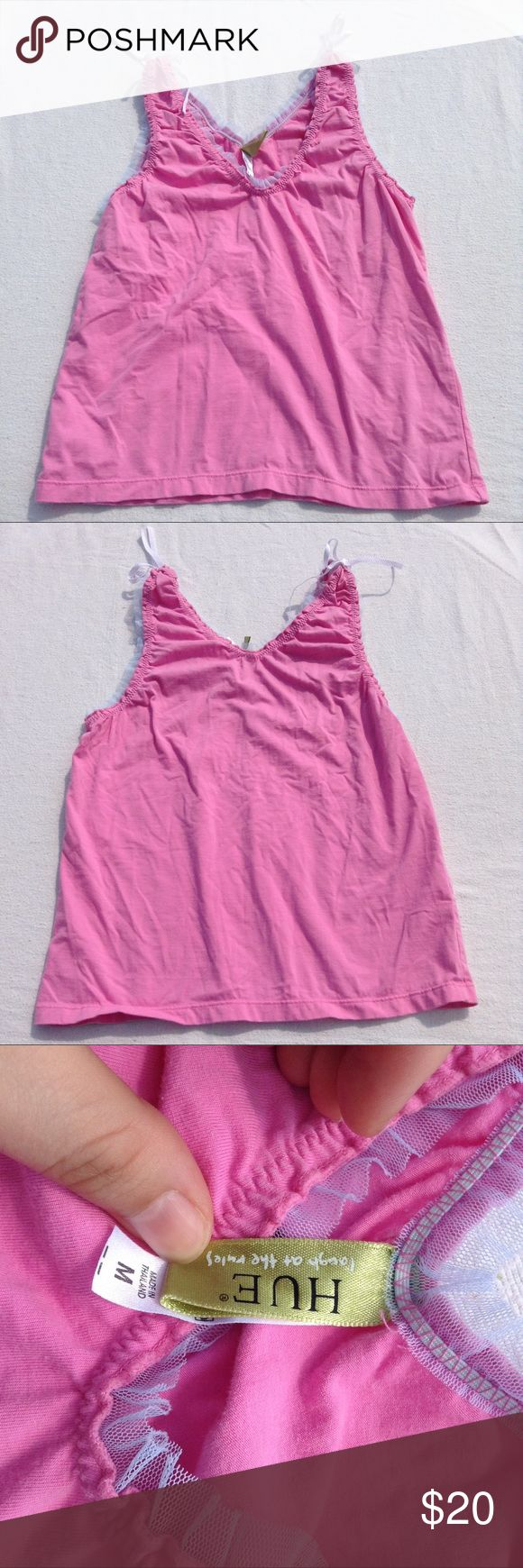 Vintage Frilly Pink Tank Top Fun girly tank top. Measures about 15.5 inches in width and 20.5 inches in length from top of straps to the bottom of the shirt. 95% cotton and 5% spandex. HUE Tops Tank Tops