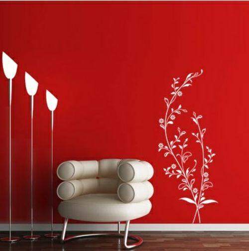 wandsticker wandtattoo wanddeko rot farbe stehlampen modern