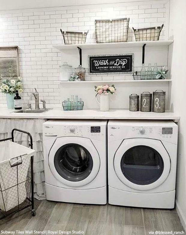 Subway Tiles Wall Stencil Laundry Room Design Laundry Room