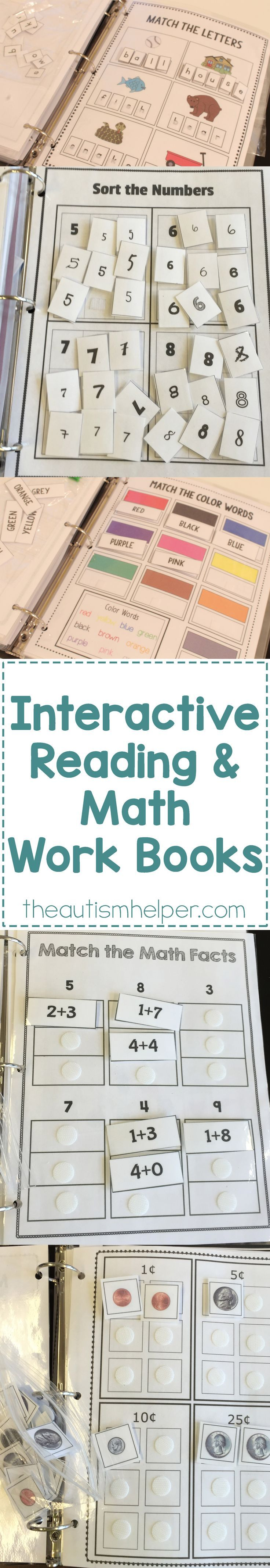 Our interactive Math & Language Arts Workbooks provide independent work to your students & a HUGE help as you run through the unending list of to-do's at the start of the year! From theautismhelper.com #thautismhelper