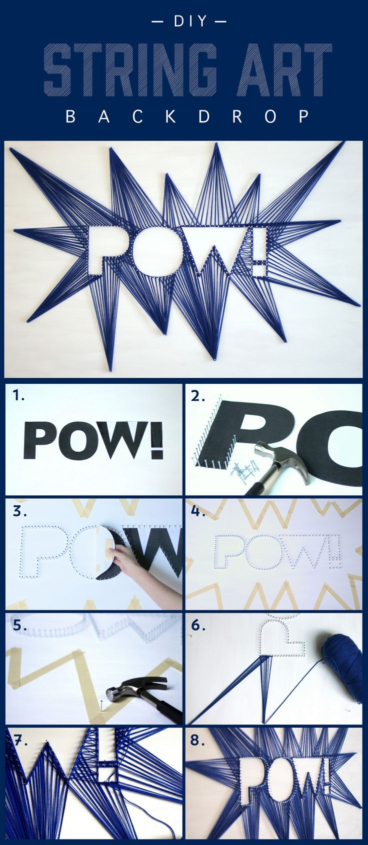 "A string art backdrop ""POW!"""