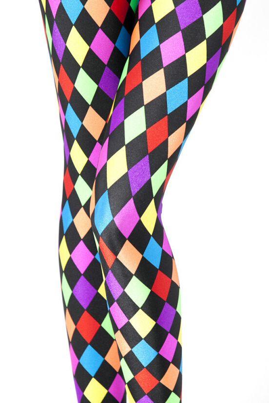 Russian Checked Print Leggings Mardi Gras Jester Party Joker Clown Pants Colorful Novelty Fashion Leggings Leggins for women D28 #Affiliate