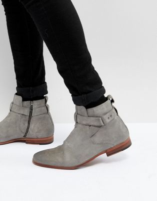 1e1f231e4c46 ASOS Chelsea Boots In Gray Suede With Strap Detail