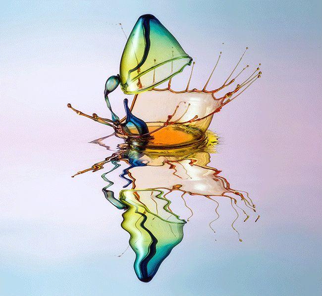 Fotógrafo registra esculturas de líquidos coloridos