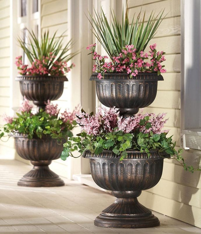 Idea for front door entry.: Plants Can, Antiques Finish, Tiered Antiques, Outdoor Living, Finish Plastic, Urn Planters, Front Doors, Plastic Urn, Front Porches