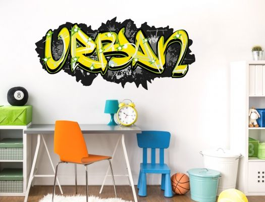 Spectacular Wandtattoo Sprayer Motiv mit coolem Graffiti Design