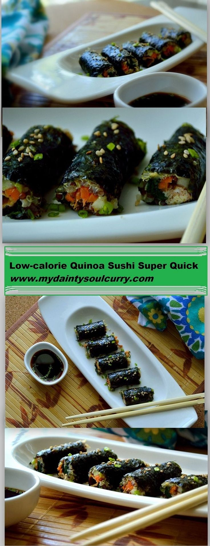 Quinoa sushi mini rolls perfect for sushi cravings and healthy eating..