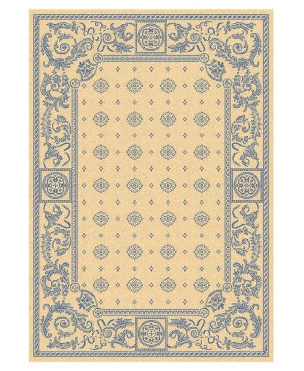 59% Off - MANUFACTURER'S CLOSEOUT! Safavieh Area Rug, Courtyard Indoor/Outdoor CY1356 Ivory/Blue 5' 3
