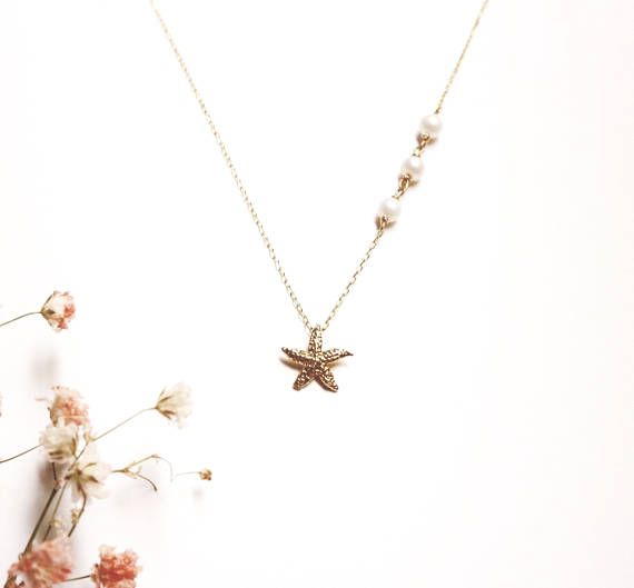 Starfish necklace  small simple delicate modern jewelry