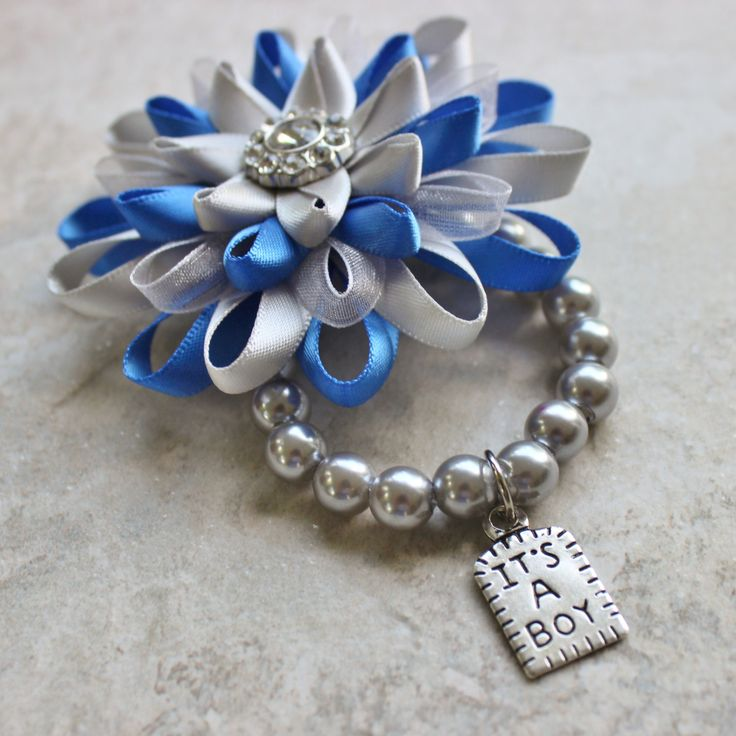 Baby Boy Shower Ideas Its a Boy Corsage Baby Boy Shower Corsage Its a Boy Charm Bracelet Blue and Gray Baby Shower Keepsake