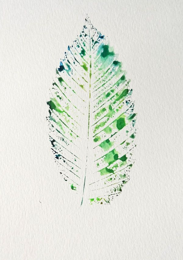 OOAK Blue and Green Autumn Leaf Watercolor. $15.00, via Etsy.