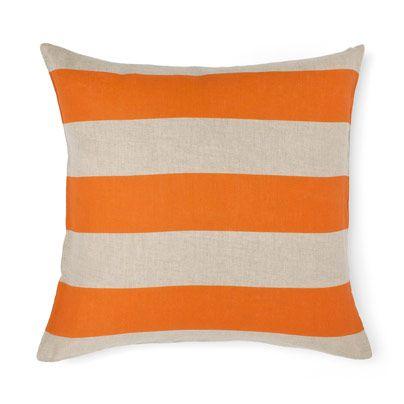 Wide Stripe Cushion in Orange Poppy 50cm