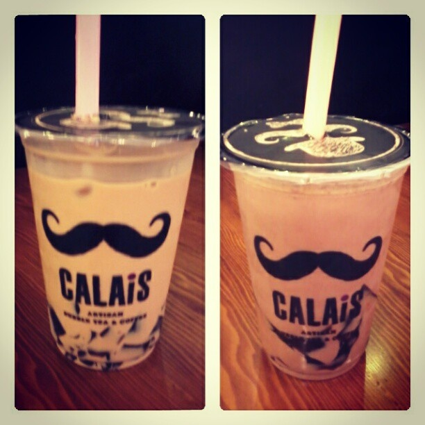 coffee latte with coffee jelly - less sugar | matcha latte with coffee jelly (@Calais Artisan Tea n' Coffee)
