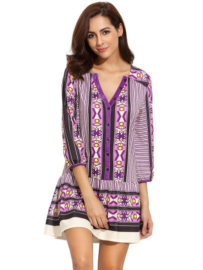Purple V Neck Vintage Print Dress