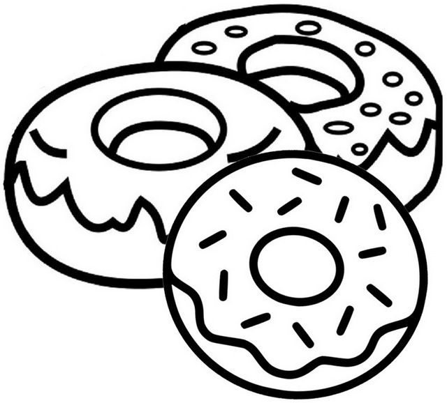 Yummy Donut Coloring Page Donut Coloring Page Cute Coloring Pages Food Coloring Pages