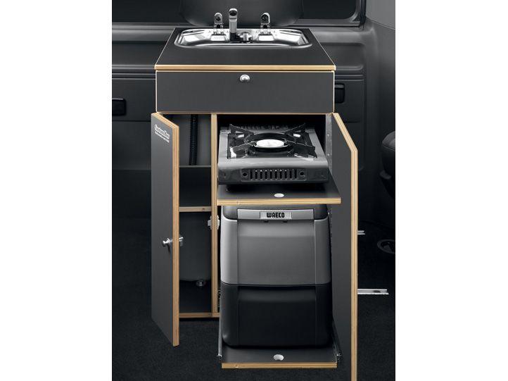 Küchenbox mit Spüle Kocher und Kühlbox
