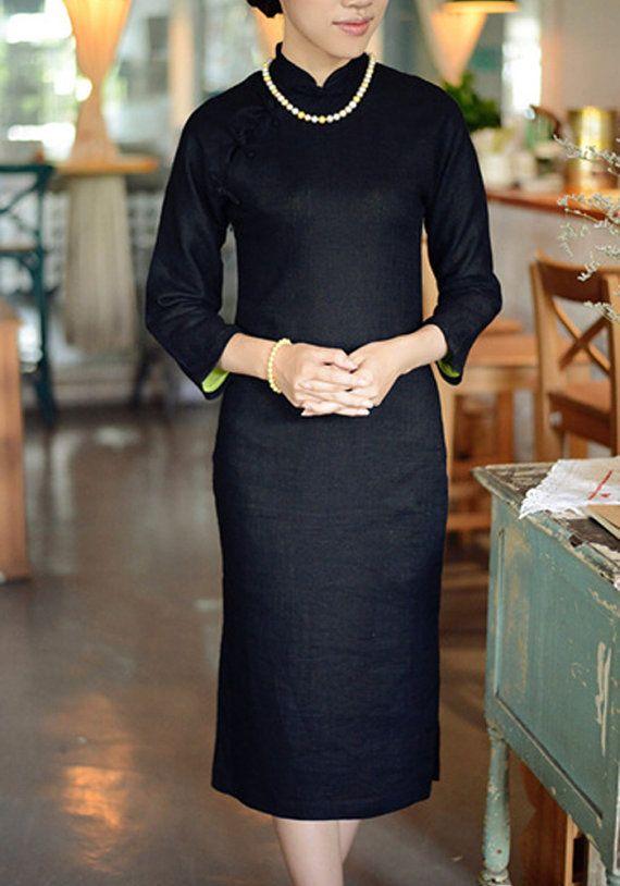 Fall Winter Sleeve Black Linen Long Cheongsam,Chinese Dress Size-M,L,Custom Size UNIFORM IDEA