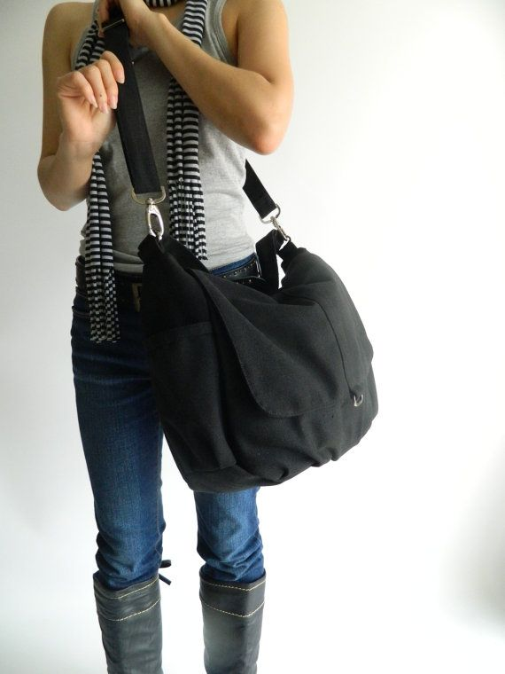 SALE SALE SALE - Daniel in Black // Shoulder bag / Messenger / tote bag / hobo / Diaper bag / Handbag / For Her / new Mom / Women
