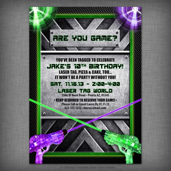 Laser Tag Party Customized Printable Invitation Laser Party